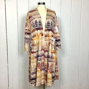 NWT LulaRoe Sarah Robe with Tribal Aztec Design S